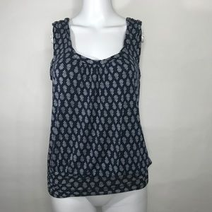 Max Studio Flower Printed Tank Top Ruched Details